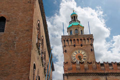 Clock Tower on Palazzo Comunale in Bologna. Royalty Free Stock Photography