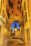 Clock Tower on  Piazza Maggiore in Bologna Stock Photos