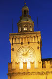 Clock Tower on Piazza Maggiore in Bologna Stock Images
