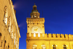 Clock Tower on  Piazza Maggiore in Bologna Royalty Free Stock Photo