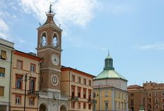 Clock tower Piazza Tre Martiri square Rimini Royalty Free Stock Photography