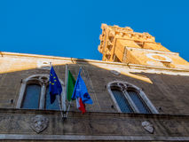 Clock Tower, Pienza, Tuscany Stock Images