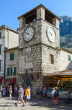 Clock tower on Plaza of Oruzja, Old Town, Kotor, Montenegro Stock Photography