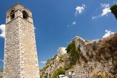 Clock tower in Pocitelj, Bosnia and Herzegovina. Stock Photos