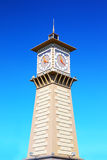 Clock tower in port Dudinka, Taimyr, Russia Stock Image