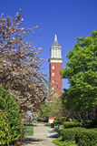 Clock Tower at Queens University in Charlotte. Evans Clock Tower at Queens University of Charlotte in North Carolina during the spring stock photography