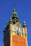 Clock Tower of the Railway station in Gdansk, Poland Royalty Free Stock Photos