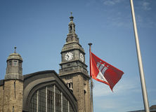 Clock tower of the railway station in Hamburg Royalty Free Stock Images