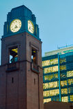 The clock tower of red brick Royalty Free Stock Photography