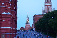 Clock Tower. Red square. Evening. Center of Moscow Royalty Free Stock Photos