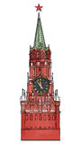 Clock tower on Red Square isolated coloured sketch Royalty Free Stock Photo