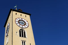 Clock tower in Regensburg Royalty Free Stock Photos