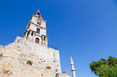 Clock Tower of Rhodes, Greece. Clock Tower of Rhodes in the Dodecanese in Greece stock images