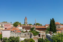 Clock Tower Rhodes Old Town Panorama Royalty Free Stock Images