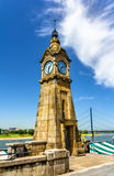 Clock tower on the riverside of Dusseldorf Stock Photo