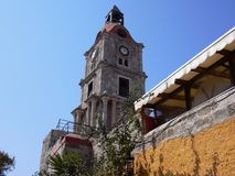 Clock Tower Roloi Rhodes Greece Stock Images