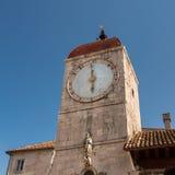 Clock Tower of Saint Sebastian Church in the Center of Trogir Stock Photo