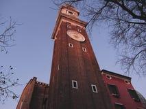 Clock tower at Santi Apostoli church in Venice, Italy Stock Photography