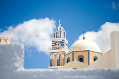 Clock tower at Santorini. Time present and it never stop Stock Image