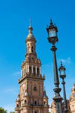 Clock tower Seville Spain Plaza de Espana Royalty Free Stock Photos