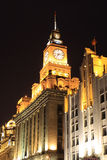 Clock Tower Shanghai Bund Night Customs stock photos