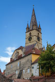 Clock-tower of the Sibiu cathedral. Romania Stock Photo