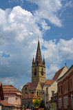 The clock tower of the Sibiu stock photo