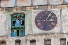 Clock tower of Sighisoara castle, Transylvania Royalty Free Stock Photo