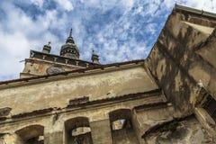 Clock Tower of Sighisoara citadel, Romania Royalty Free Stock Photo