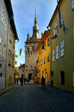 Clock tower in Sighisoara, Romania Stock Photos