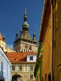 The Clock Tower of Sighisoara Romanian: Turnul cu Ceas as seen from the medieval citadel Royalty Free Stock Photos