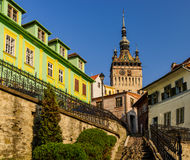 Clock tower in Sighisoara Royalty Free Stock Photography