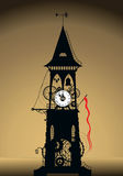 Clock tower silhouette. An illustration of the silhouette of a strange and unusual clock tower on a graduated beige background Stock Photo