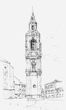 Clock Tower Sketch Royalty Free Stock Images