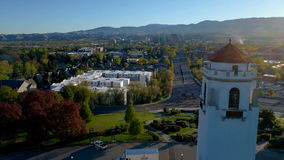 Clock tower and skyline of Boise aerial in the spring stock footage