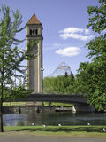 Clock tower. Spokane Washington Riverfront Park with clock tower and pavilion on the background Royalty Free Stock Photography