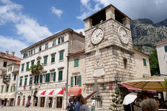Clock tower on square of arms in Kotor, Montenegro Stock Photos