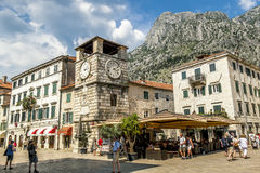 Clock tower on the square in the old town of Kotor.Montenegro Royalty Free Stock Image