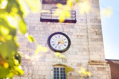 Clock tower of St. Jean Cathedral in Besancon. France Stock Photography