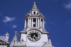 Clock tower of St Paul's Cathedral in London, England Stock Image