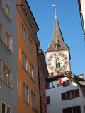 The clock tower of st. peter. Zurich Stock Photos