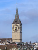 Clock tower of the St Peter Church in Zurich Royalty Free Stock Image