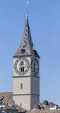 Clock tower of the St. Peter Church in Zurich Royalty Free Stock Photo