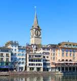 Clock tower of the St. Peter Church in Zurich, Switzerland Royalty Free Stock Photo