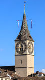 Clock tower of the St. Peter Church in Zurich, Switzerland Royalty Free Stock Image