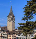 Clock tower of the St. Peter Church in Zurich, Switzerland Royalty Free Stock Photography