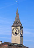 Clock tower of the St. Peter Church in Zurich, Switzerland Stock Images