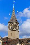 Clock tower of the St. Peter Church in Zurich, Switzerland Royalty Free Stock Images