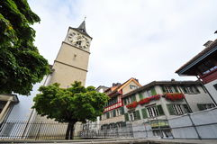 Clock tower of St Peter's Church in Zurich Royalty Free Stock Photo