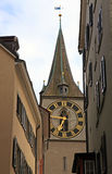 Clock tower of St. Peter's Church, Zurich, Switzerland Royalty Free Stock Photos